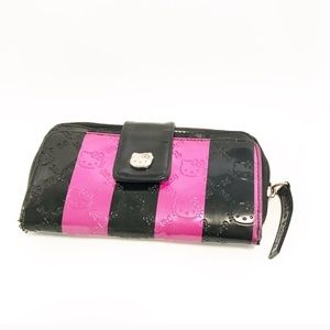 Hello kitty. Neon pink and black wallet. Large